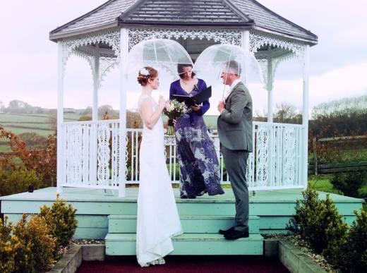 bride and groom under umbrellas