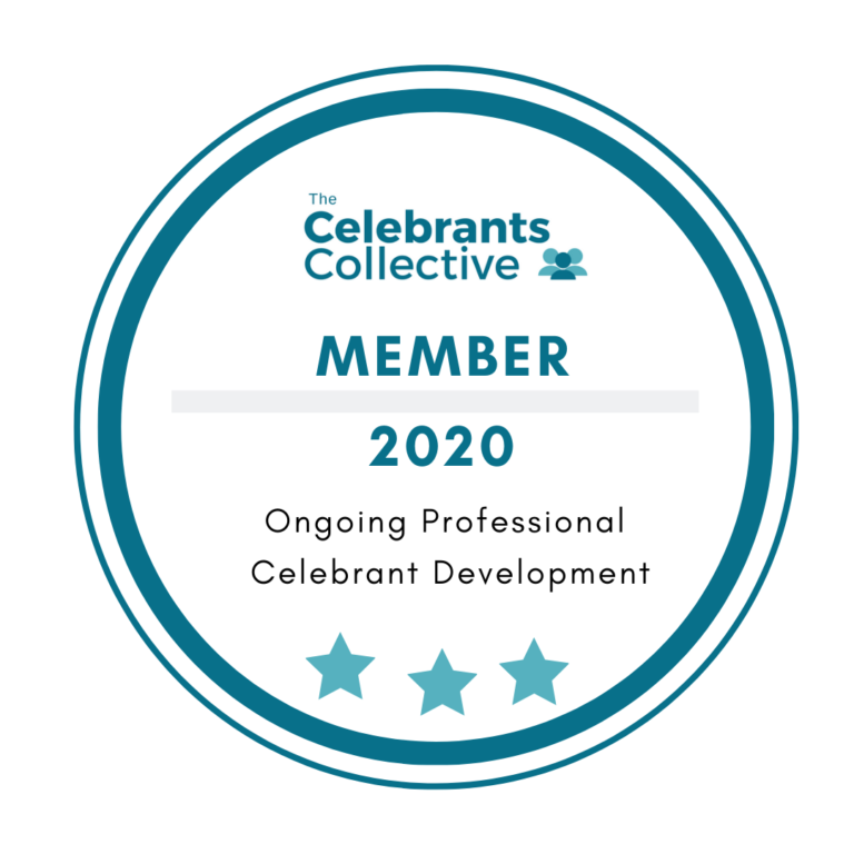Badge displaying membership to The Celebrant's Collective 2020
