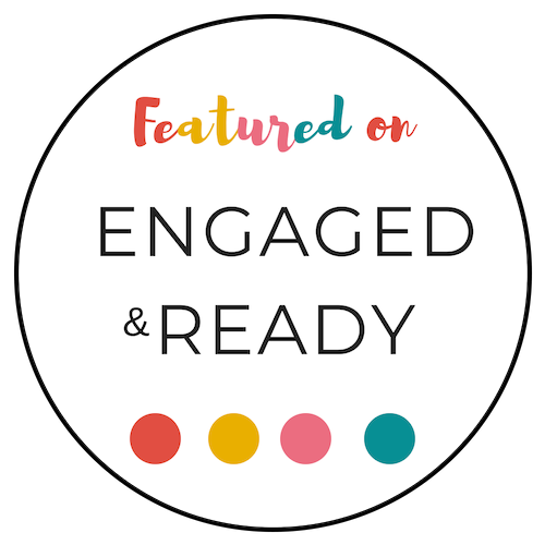 A white badge with the words Featured on Engaged and Ready, linking to a blog post by Celebrant Keli Tomlin